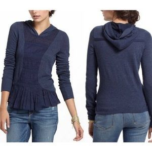 E by Eloise Anthro. Blue lace hooded Top XS